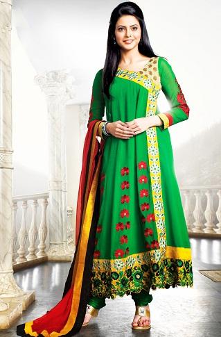 Angrakha Style Green Salwar Kameez Design