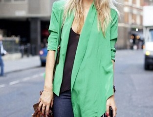 Asymmetrical Green Blazer