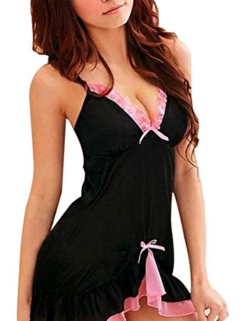 Baby Doll Black and Pink Nightwear