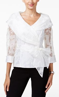 Belted Collar Wrap Top