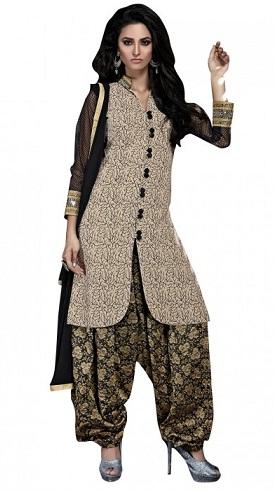 Bhagalpuri Silk Beige Salwar Suit