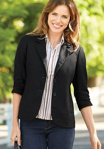 Black Tailor Made Linen Blazer for Women
