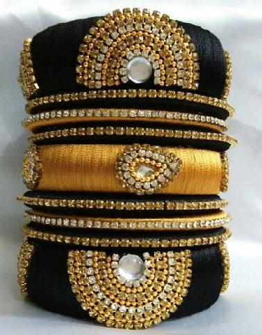 Black and Golden Thread Bangles with Stone