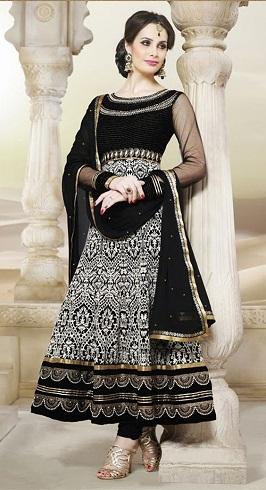 Black and White Embellished Salwar Suit