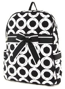 Black and White School Bag for Young Girls -8