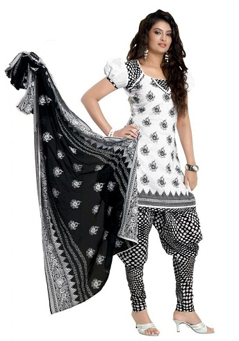 Black and white Printed Salwar Suit