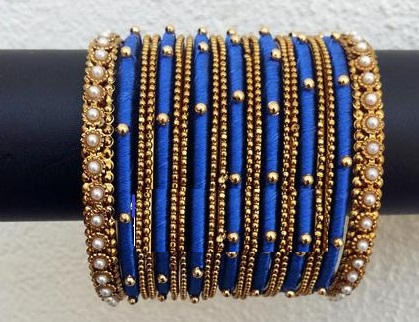 Blue and Golden Pearl Bangles