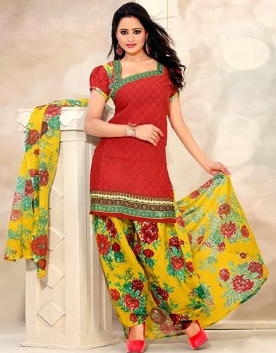 Boat Neck Cotton Salwar Suit Design