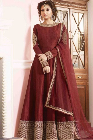 Brick Red Poly cotton Anarkali Suit