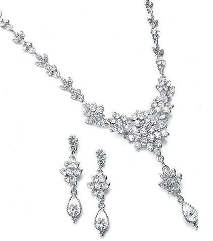 Bridal White diamond necklace set -19