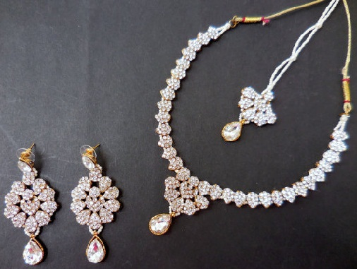 Bridal silver necklace set with earring -5