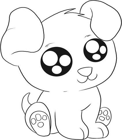 Cartoon Puppy Animals Coloring Page