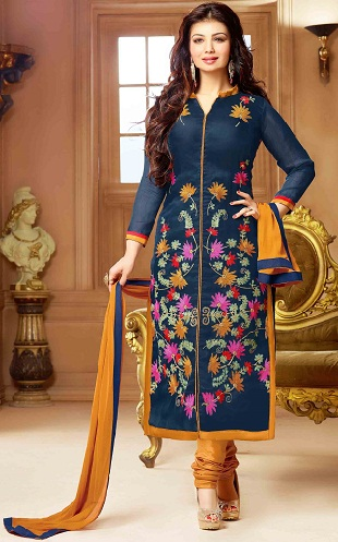 Chinese Collar Neck Cotton Salwar Suit