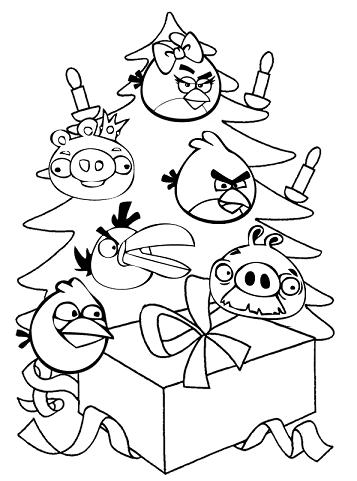 Christmas Angry Bird Colouring Page