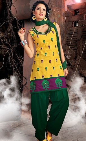 Contrast Coloured Punjabi Salwar Suit