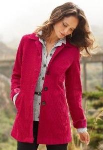 Corduroy Long Blazer Jacket pink