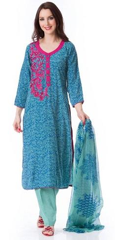 Cotton Blue Salwar Kameez Design