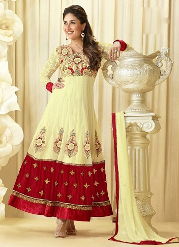 Cream and Maroon Anarkali Suit