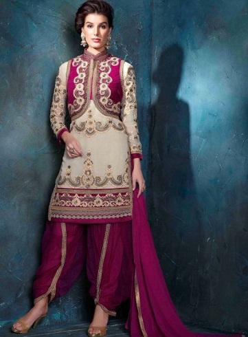 Cream and Pink Patiala Salwar Suit
