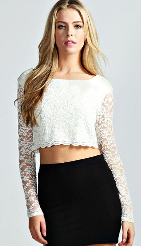 Crop Top in White Lace