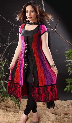 Crush Multicolour Silk Suit Deign