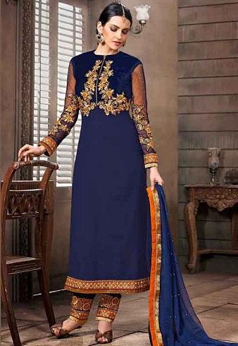 Deep Blue Pakistani Style Salwar Kameez Design