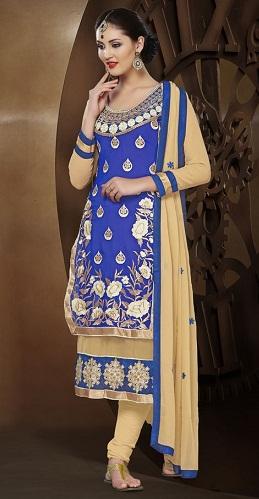 Designer Blue Long Salwar Kameez Design