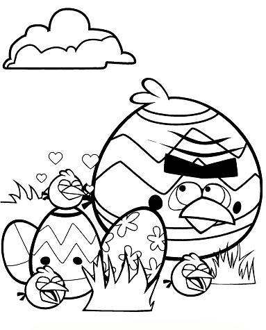Easter Tournament Angry Bird Colouring Page