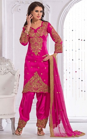 Embroidered Silk Salwar Kameez Design