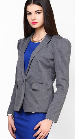 Faballey Gray Solid Fitted Blazer