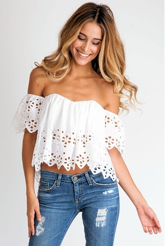 Fitted white Gypsy Tube Top