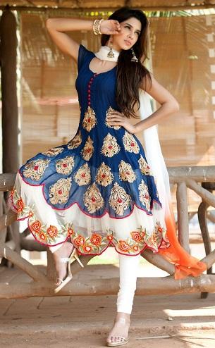 Flarey Ivory Blue Salwar Kameez Design