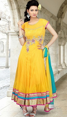 Flarey Yellow Salwar Kameez for Girls