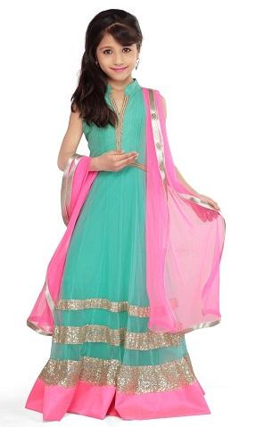 Floor Length Kid's Net Salwar Suit
