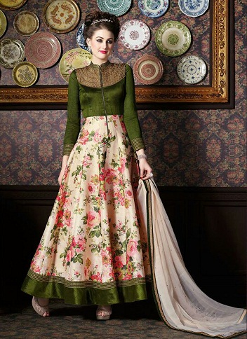 Floral Printed Silk Anarkali Suit