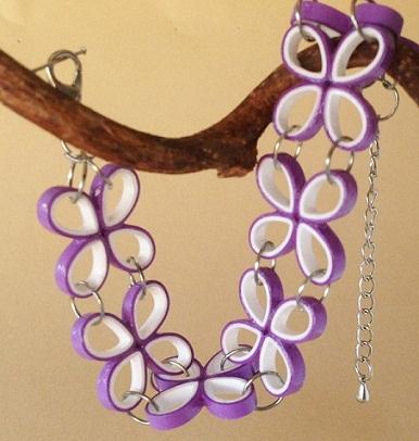 Floral design paper quilling bracelet