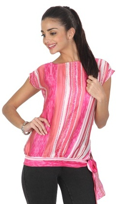 Front Tie Knot Pink Top