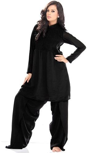 Full Black Plus Size Pakistani Salwar Suit