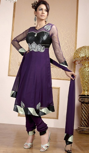 Georgette Purple Designer Suit