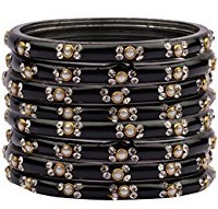Glass Black Bangles with Stones