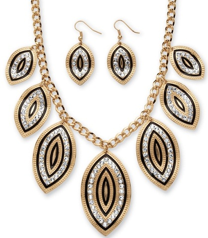 Gold Leaf Motif Necklace and Earrings Set -24