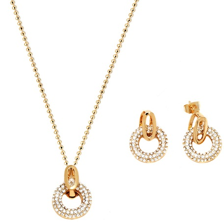 Gold and white Circle Earrings and necklace set -18