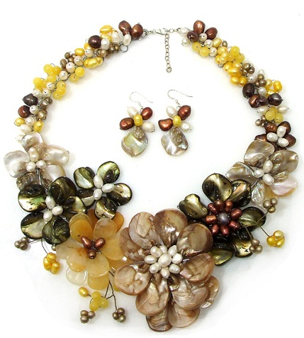 Gold floral necklace set -7
