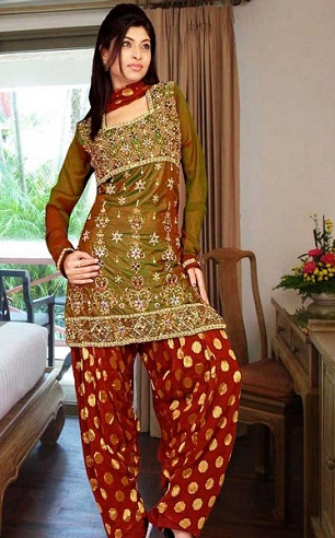 Green and Maroon Straight Salwar Suit