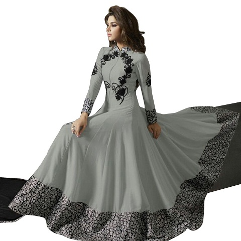 Grey Thread work Anarkali Suit
