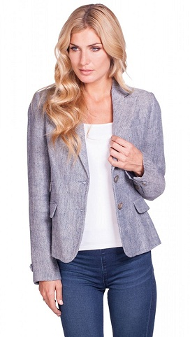 Greyish Blue Linen Blazer for Women