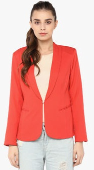 Harpa Red Solid Winter Blazer