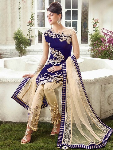 Heavy Cut Style Embroidery Salwar Pant Suit