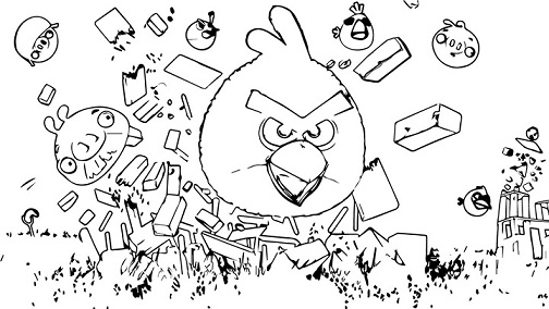 In Action Angry Bird Colouring Page