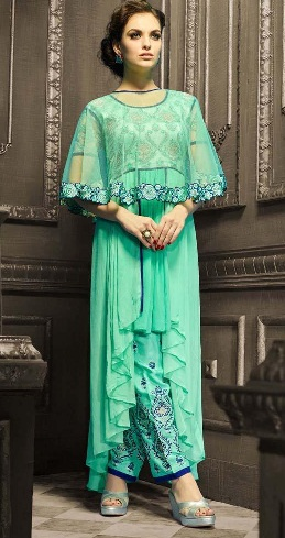Indo Western Style Green Salwar Suit